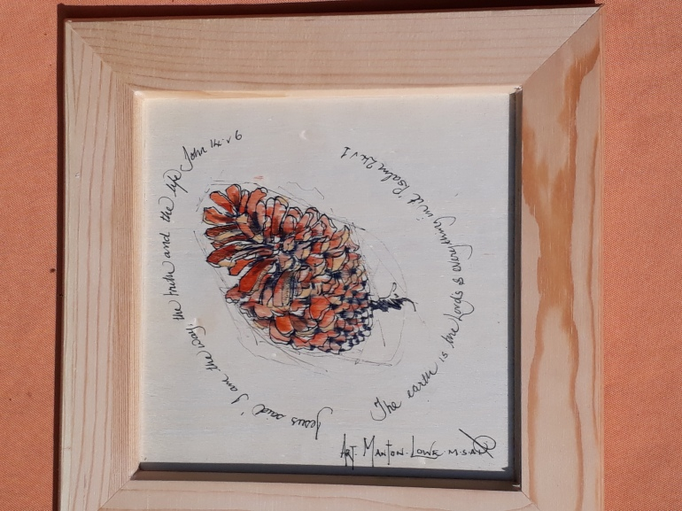 Pinecone study on wood